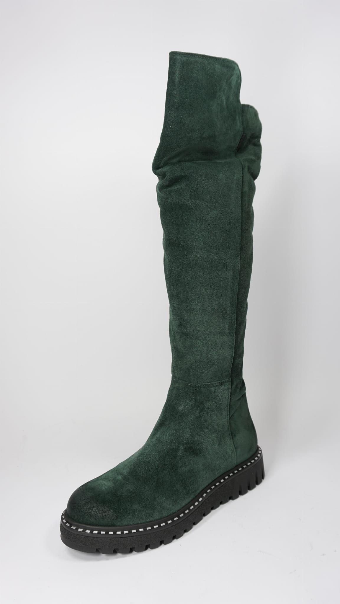 Kozaki damskie Nessi 18414 Filc zielony w